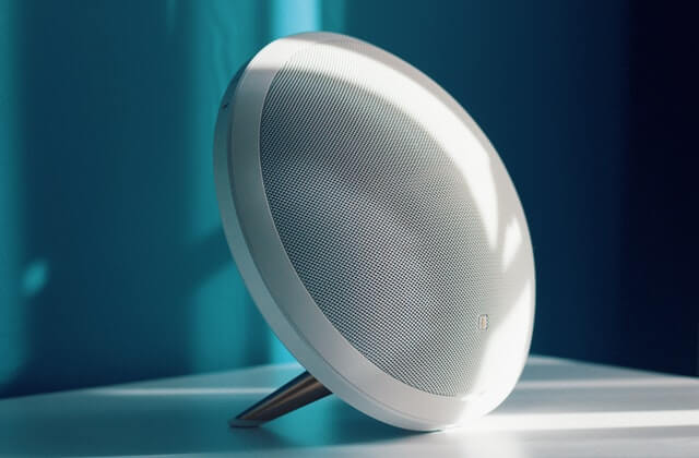 white portable Bluetooth wireless speaker
