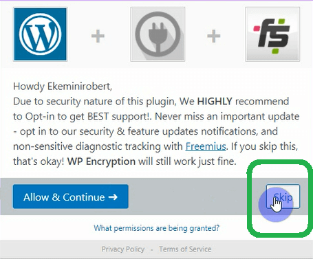 WP encryption opt in